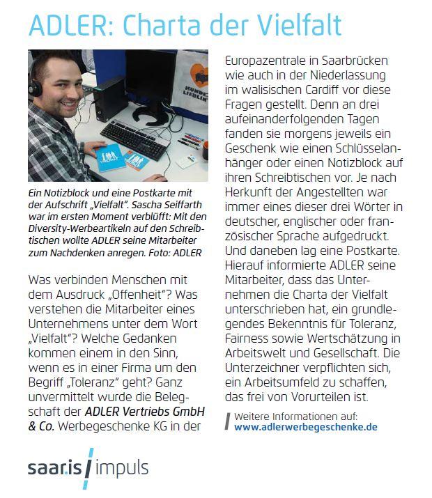 saar.is Impuls Magazin, 2015-04: ADLER: Charta der Vielfalt