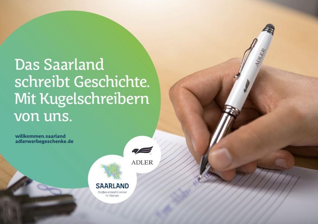 ADLER Werbegeschenke: Das Saarland schreibt Geschichte. Mit Kugelschreibern von uns.